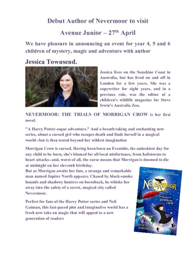 thumbnail of Debut Author of Nevermoor to visit