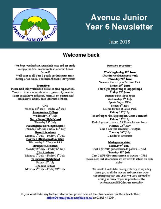 thumbnail of Year 6 Newsletter June 2018