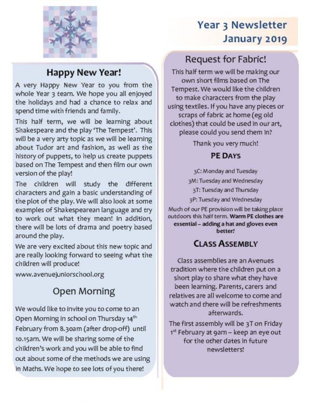 thumbnail of Year 3 Newsletter January