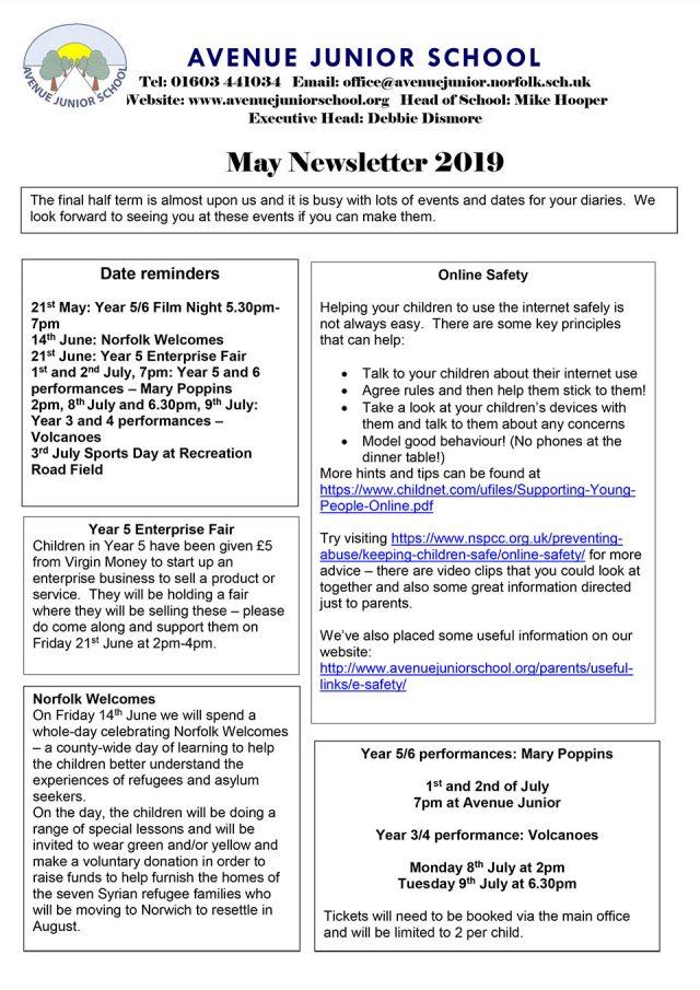 Newsletter May 2019 – Avenue Junior School