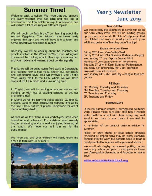thumbnail of Year 3 Newsletter June